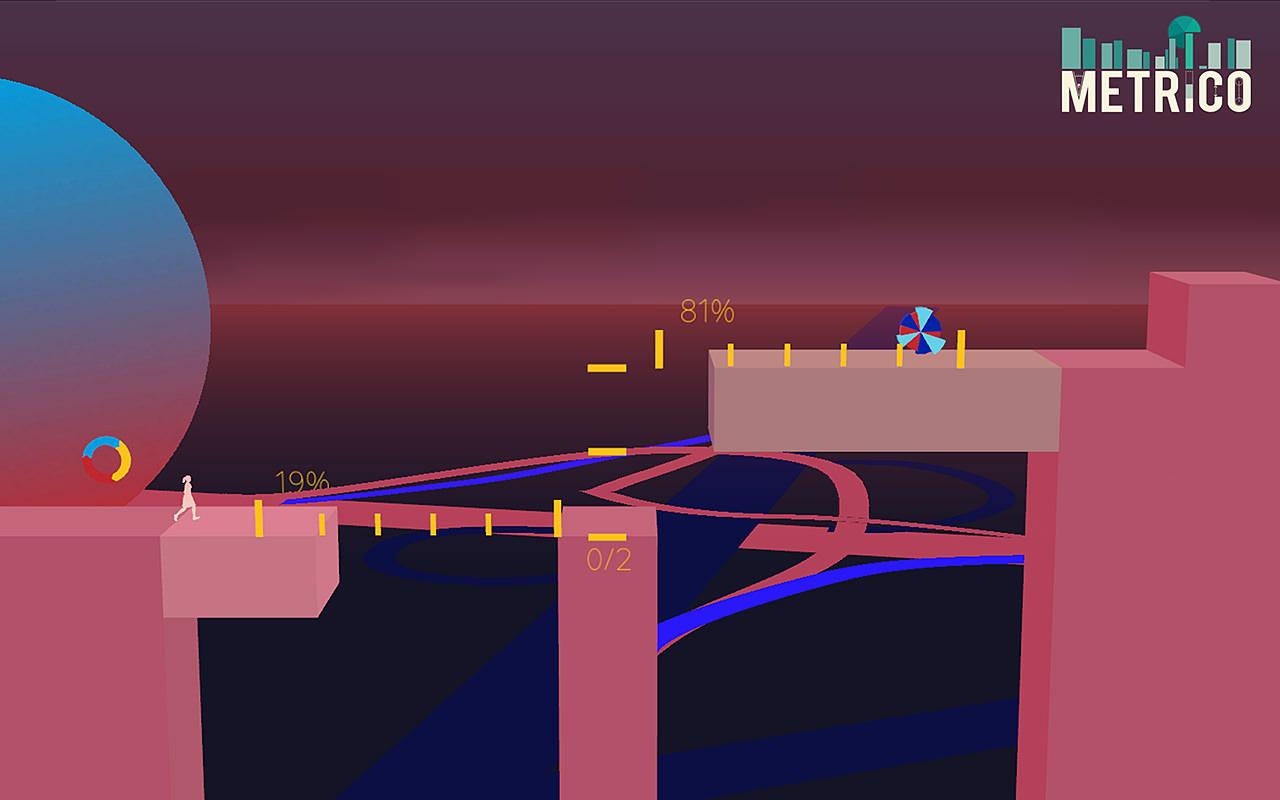 棒、円、チャート…インフォグラフィックが舞台のアクションパズルゲーム「Metrico」